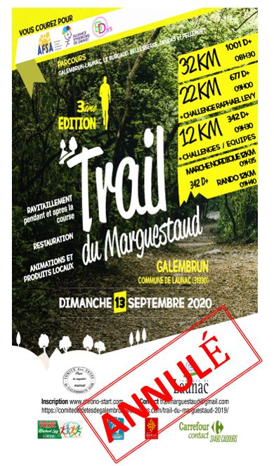 Trail du Marguestaud – 13 septembre 2020 – Annulé